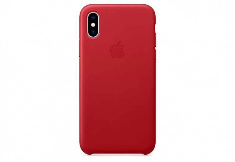 Чехол Apple Leather Case для iPhone XS, (PRODUCT)RED