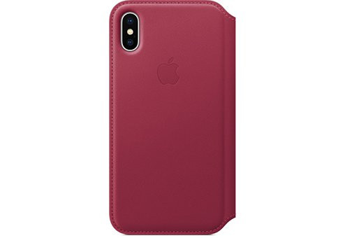 Чехол Apple Leather Folio для iPhone X «лесная ягода»