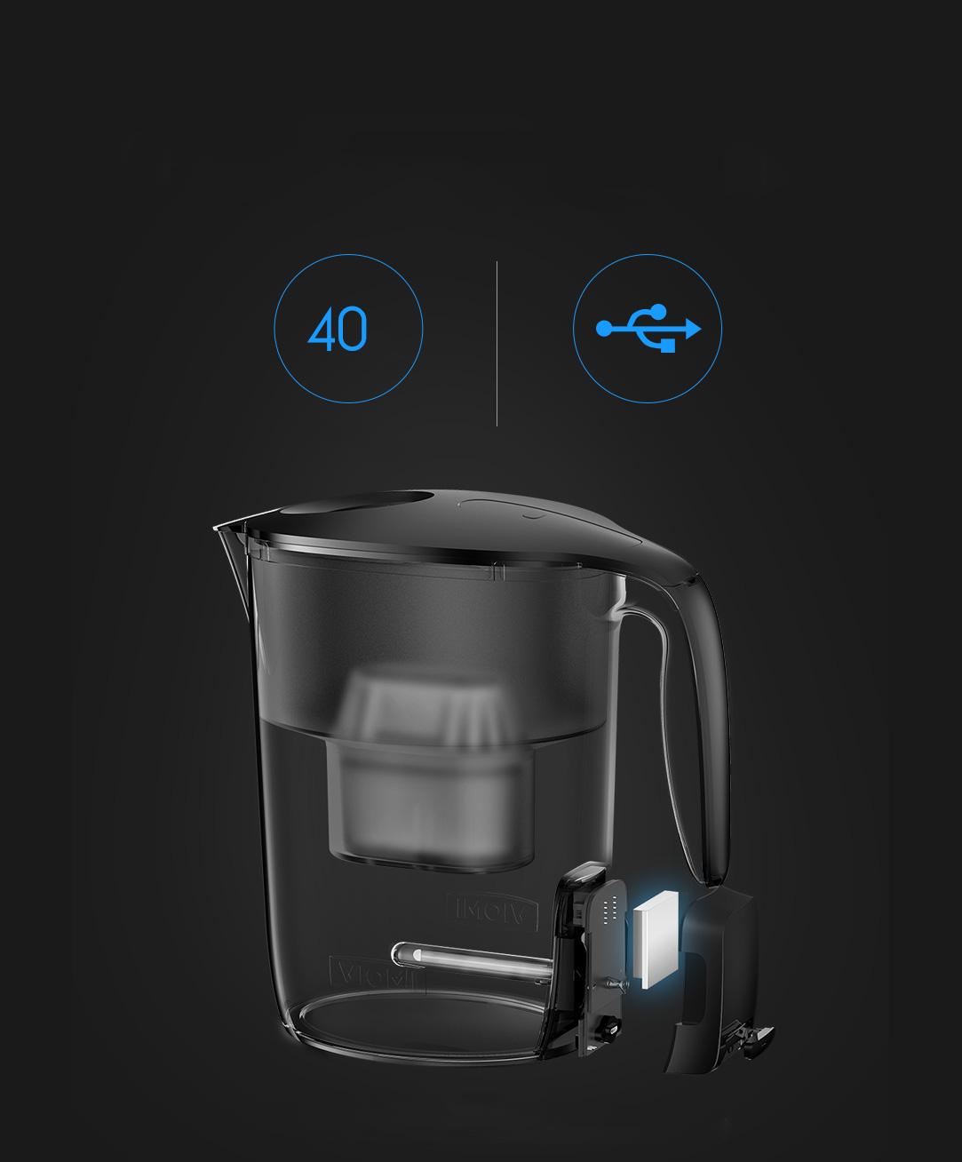 Xiaomi Viomi Filter Kettle - УФ лампы хватает на 40 цыклов очистки воды